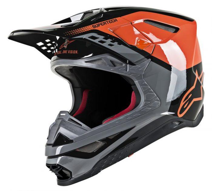 Alpinestars Supertech M8 Trible, orange-grau-schwarz 1