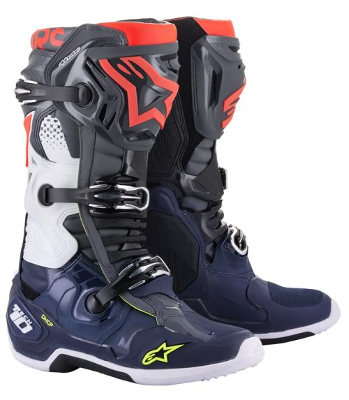 Alpinestars Tech 10 Stiefel grau-blau-rot 2022