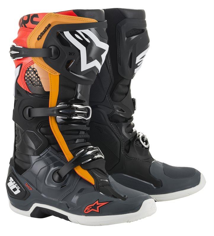 Alpinestars Tech 10 Stiefel schwarz-grau-orange-rot