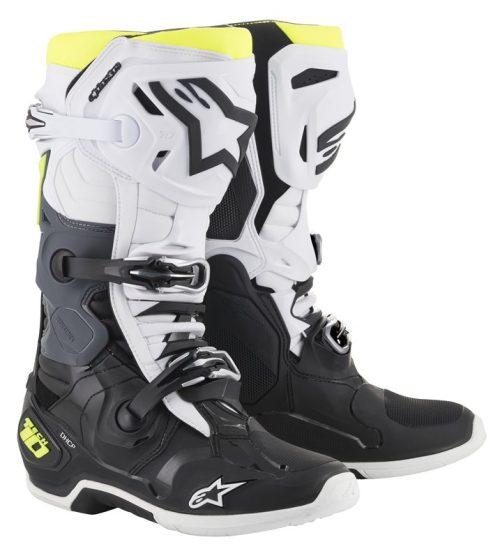 Alpinestars Tech 10 Stiefel schwarz-weiß-gelb