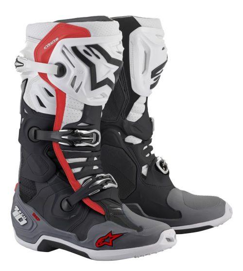Alpinestars Tech 10 Supervented Stiefel schwarz-weiß-grau-rot