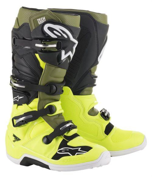 Alpinestars Tech 7 Stiefel gelb-grün-schwarz