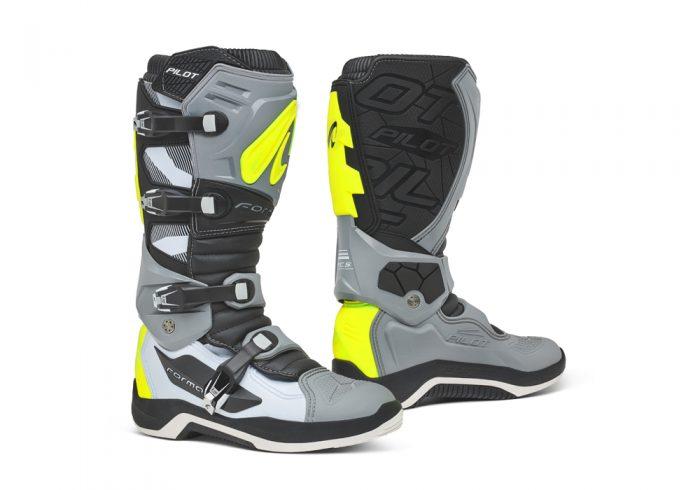 Forma Pilot MX Boots, grey-white-yellow 1