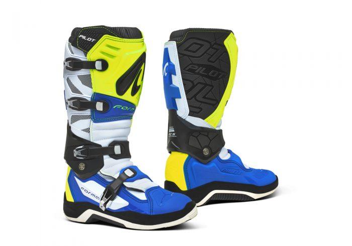 Forma Pilot MX Boots, yellow-white-blue 1