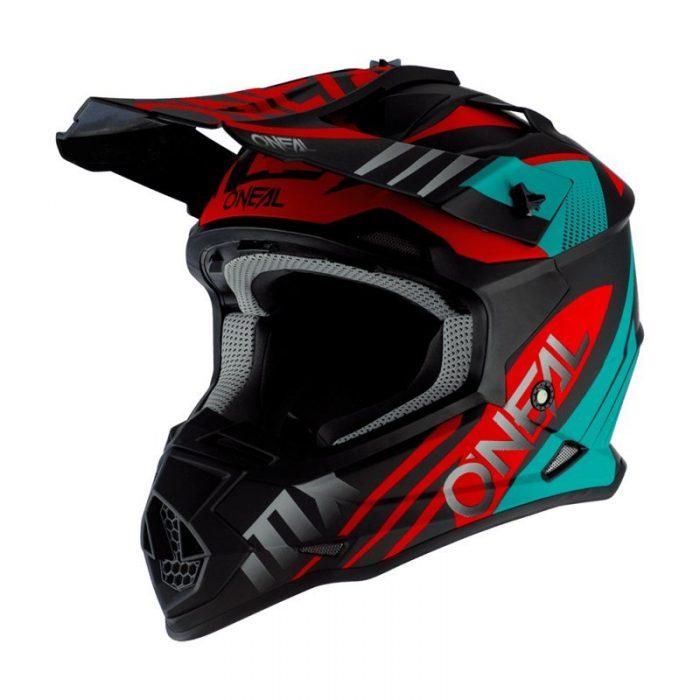 O´Neal Helmet 2SRS Helm SPYDE 2.0 Schwarz-Türkis-Rot, Modell 2020 1